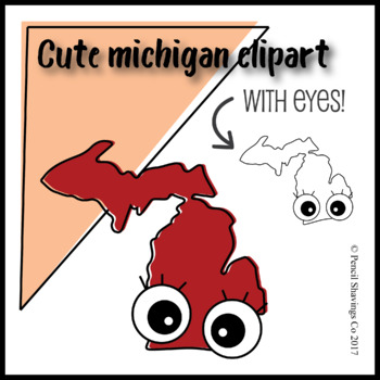 Cute Michigan Clipart with Eyes!
