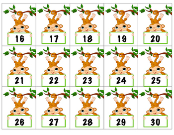 Cute Monkey Calendar Numbers