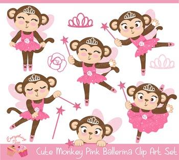 Cute Monkey Pink Ballerina Clipart Set