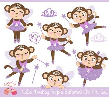 Cute Monkey Purple Ballerina Clipart Set