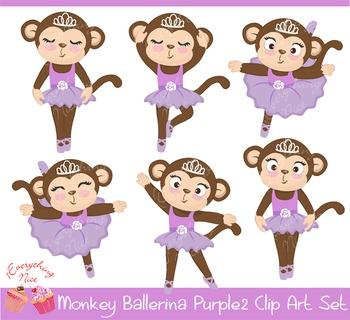 Cute Monkey Purple Lavender Ballerina 2 Clipart Set