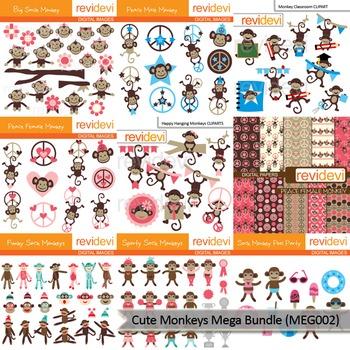 Cute Monkeys clip art mega bundle (9 packs)