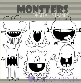 Cute Monster Black Line Clip Art