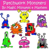 Cute Monster Clipart with Patchwork Detail