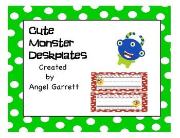 Cute Monster Deskplates - Class Decor