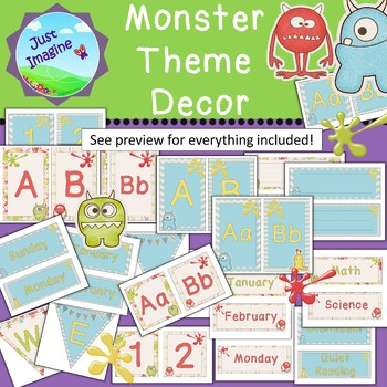 Cute Monster Theme Classroom Décor - lime, coral, baby blue, gold colors