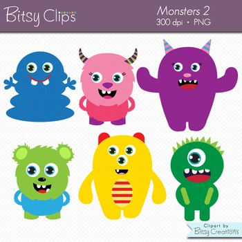 Cute Monsters Clipart Digital Art Set Commercial Use Clip