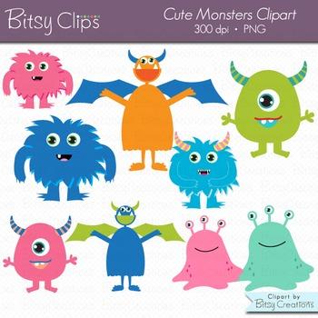 Cute Monsters Digital Art Set Clipart Commercial Use Clip Art Monster Clipart
