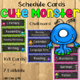 Cute Monsters Schedule Cards Chalkboard Editable