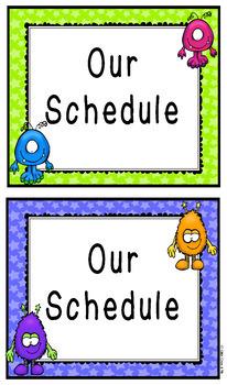 Cute Monsters Schedule Cards Editable