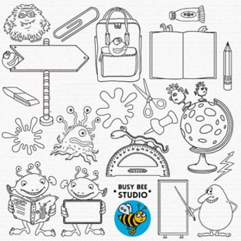 Monsters at School Clip Art Bundle