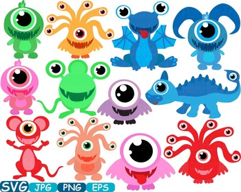 Cute Monsters clipart svg Silhouettes animals Halloween Space alien t-shirt 299s