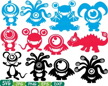 Cute Monsters clipart svg Silhouettes animals Halloween Space alien t-shirt 300s