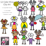 Cute Mouse Character Clip Art - 12 Color Images and Blackline Mice