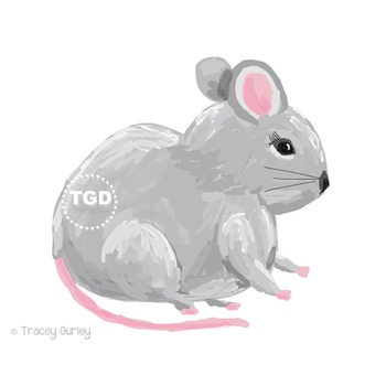 Cute Mouse clip art, gray mouse clip art Printable Tracey Gurley Designs