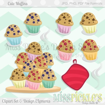 Cute Muffins- Commercial Use Clipart Set