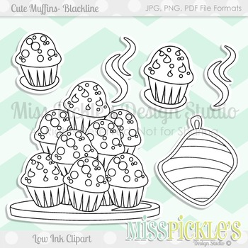 Cute Muffins, Blackline- Commercial Use Clipart Set