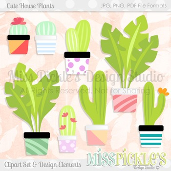 Cute House Plants- Commercial Use Clipart Set