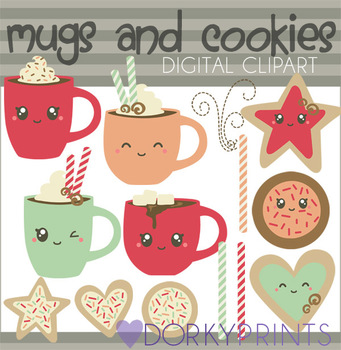 Cute Mugs and Cookies Clip Art