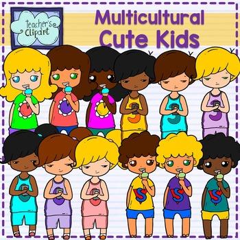 Cute Multicultural Kids Clipart BUNDLE