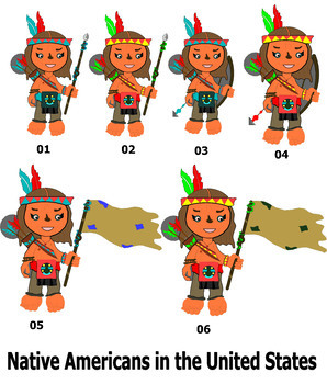 Cute Native American in the United States Clipart
