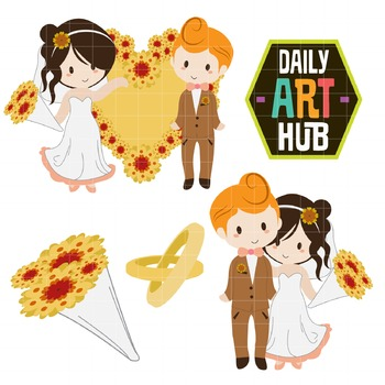 Cute Newly Weds Clip Art - Great for Art Class Projects!