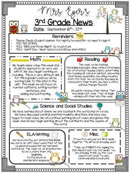 Classroom Newsletter- Editable (8 different themes)