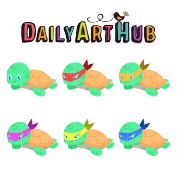 Cute Ninja Turtle Clip Art - Great for Art Class Projects!