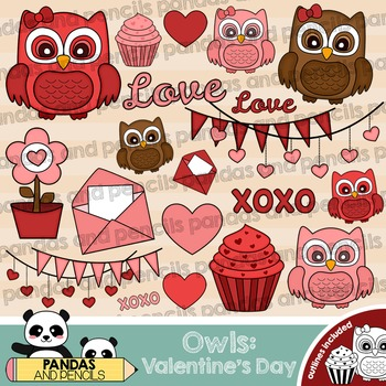 Valentine's Day Owls Theme Clip Art - Color and Black & White Outlines
