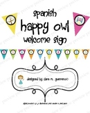 Cute OWL Welcome Sign in Spanish!- Bienvenidos