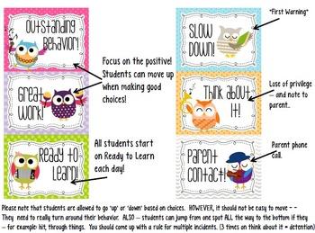Cute OWLS Classroom Clip Chart, Reading points challenge, & Behavior Log