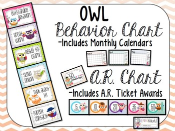 Cute OWLS Classroom Clip Chart, Reading points challenge,