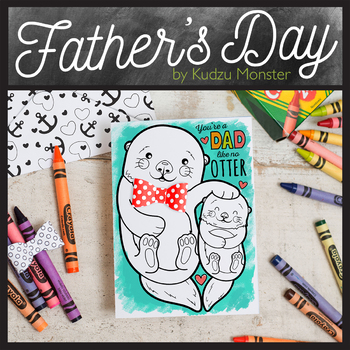 Cute Otter Father's Day Coloring Card Activity