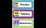 Cute Owl Calendar Components for Morning Meeting, Schedule