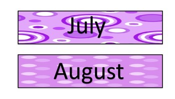 Purple Themed Calendar Headers