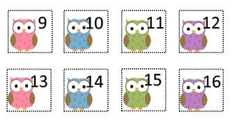 Cute Owl Calendar Number Pieces