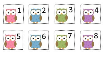 Cute Owl Calendar Number Pieces
