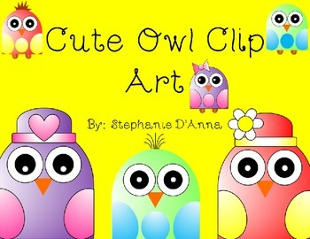 Cute Owl Clip Art (Black Lines Included)