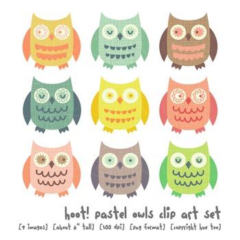 Cute Owl Clip Art, Pastel Owl Clip Art, for TpT Sellers