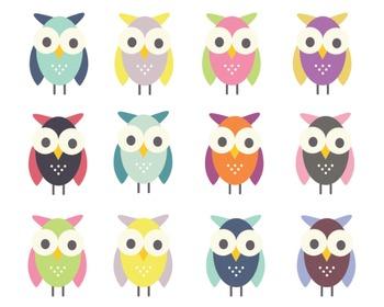 Cute Owl Clipart, Digital Clipart, Owl Clipart Set #023