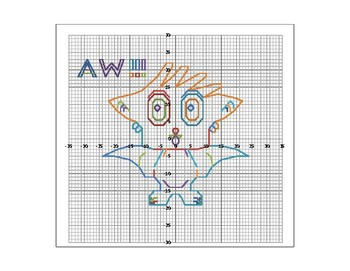 Cute Owl Coordinate Graphing Picture in 4 Quadrants and Graph Paper