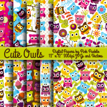 Cute Owl Digital Printable Papers Scrapbook Papers or Wallpaper Backgrounds