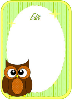 Cute Owl Labels and Name Plates - Fully Editable