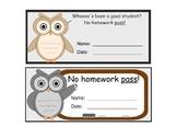 Cute Owl Themed Homework Passes (Printable)