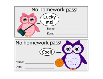 graphic about Printable Homework Pass referred to as Lovable Owl Themed Research Pes (Printable)