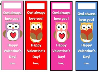 Cute Owl Valentine Bookmarks