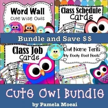 Back to School Editable Cute Owls Bundle!! Updated 2SEPT18