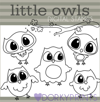 Cute Owls Black Line Art