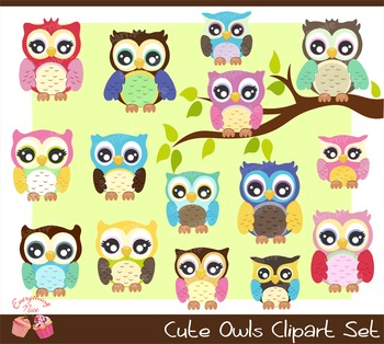Cute Owls Clipart Set