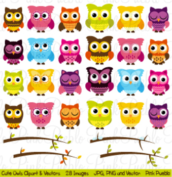 Cute Owls Clipart with Seasonal Branches
